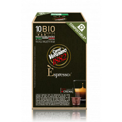 Compostable organic coffee capsules 100% arabica Vergnano